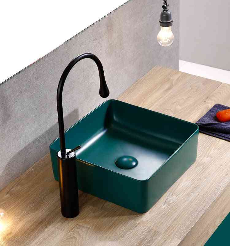 Washbasin Square Art Basin Ceramic Above Counter Gold Toilets