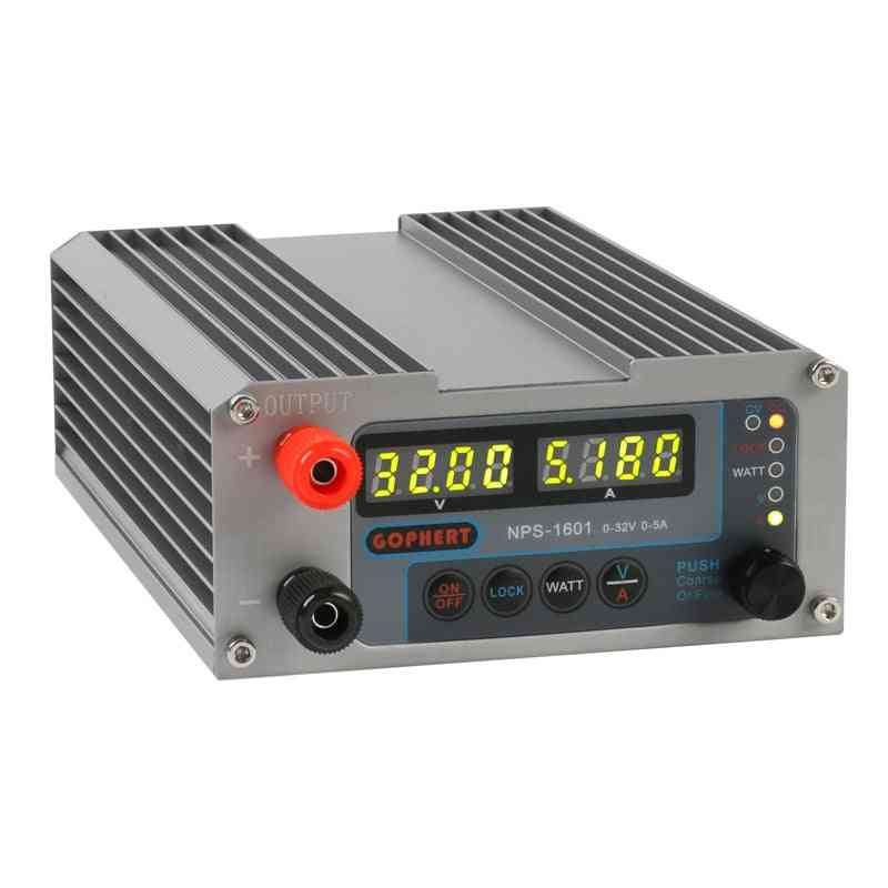 Nps-1601 Version Laboratory Diy Adjustable Digital Mini Switch Dc Power Supply Watt With Lock Function 0-32v 5a Eu Plug