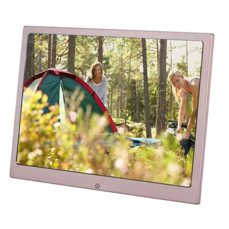 Metal Lcd Photo Frame - Usb Digital Picture Music, Video Player, Calendar Clock