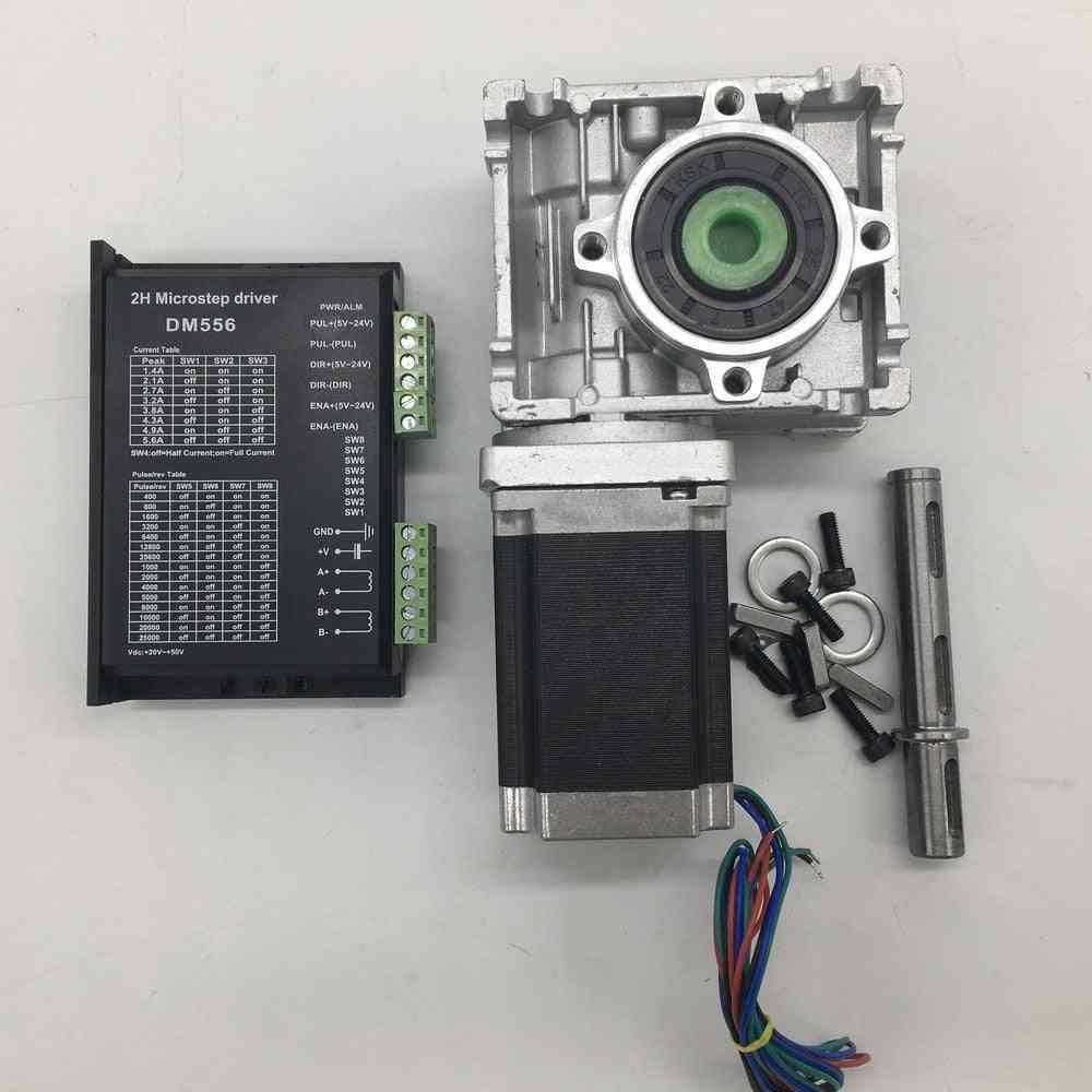 Worm Gearbox Speed Reducer, 14mm Output + Nema23 Stepper Motor Driver