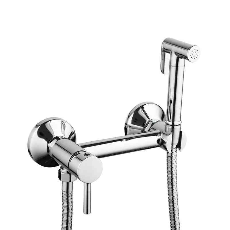 1 Set Solid Brass Tube Cold & Hot Water Shower Mixer With Bidet Shower