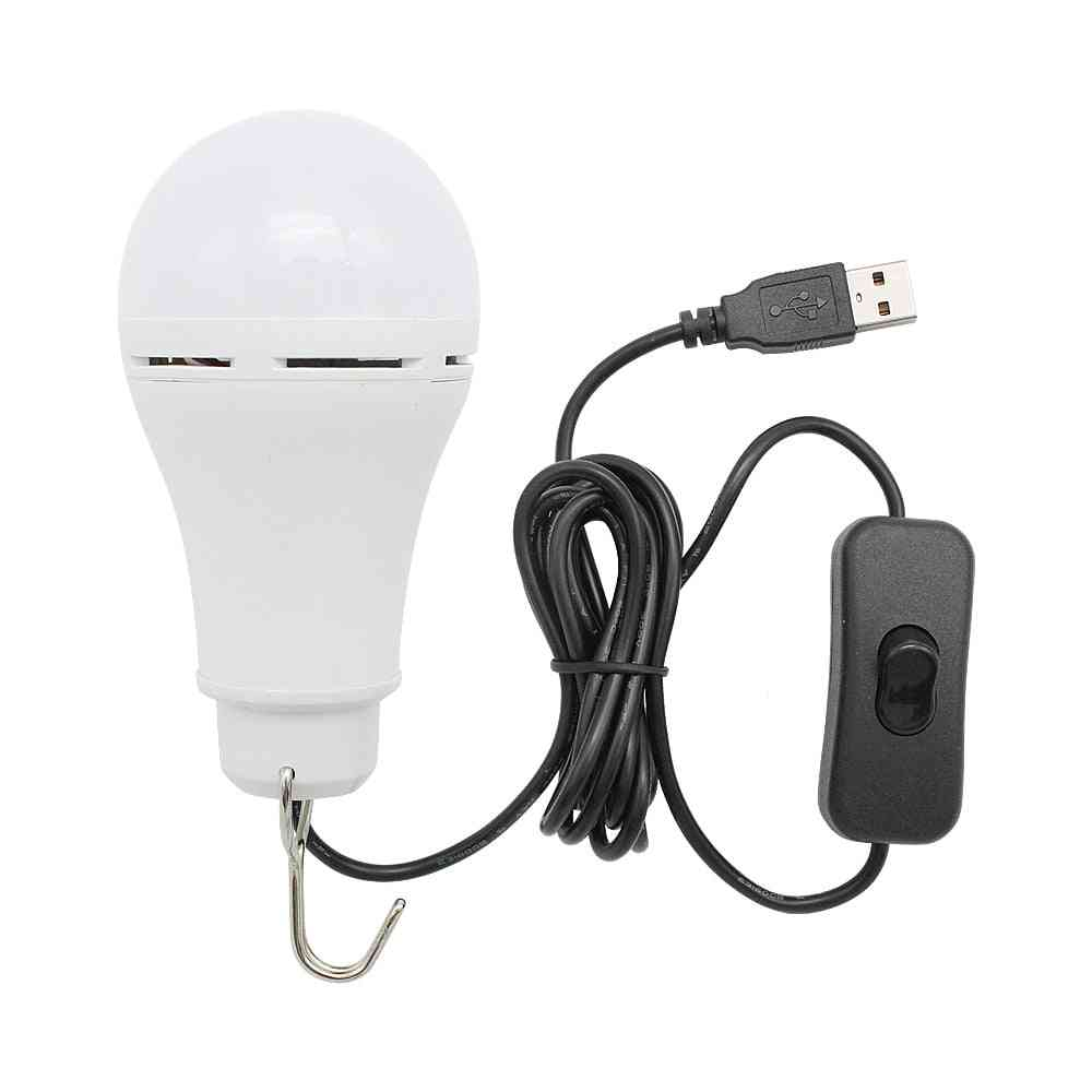 Portable Usb Led Bulb Light With Switch Button - Home Emergency Night Lamp