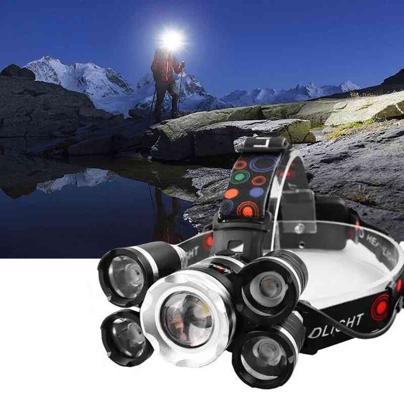 Powerful Headlight 5 Led T6 Headlamp Torch