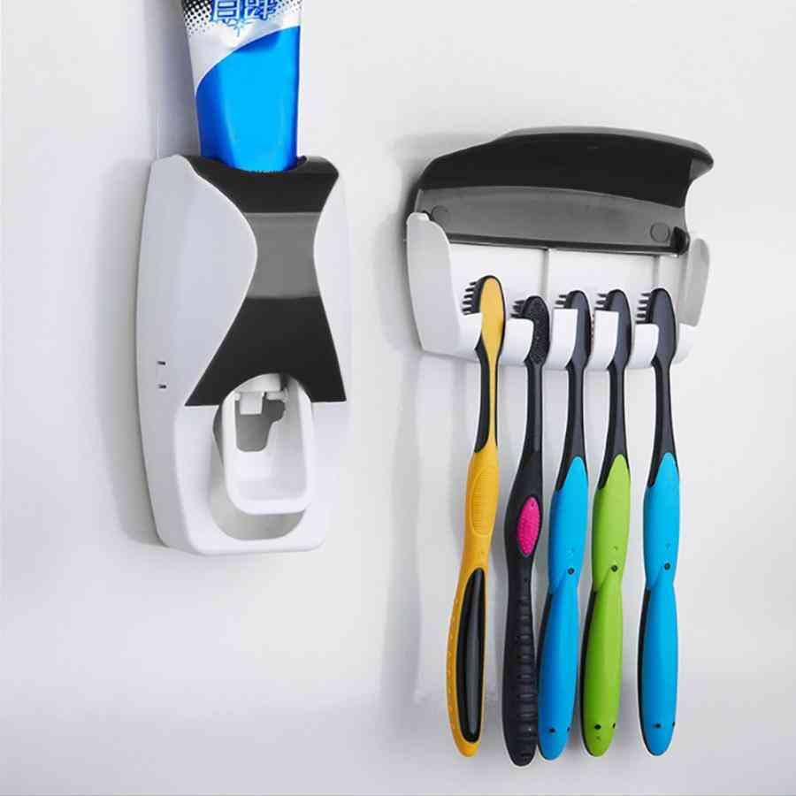 Automatic Toothpaste Dispenser And Toothbrush Holder For Home, Bathroom Set