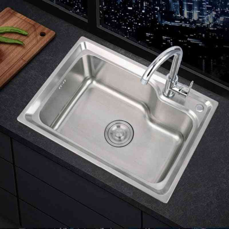 304 Stainless Steel Thick Single Slot Large Capacity Scullery Basin Set