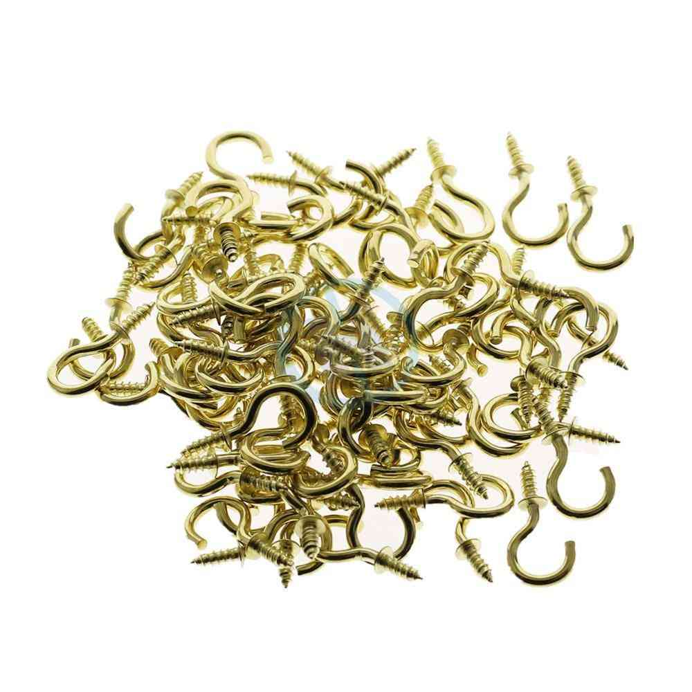 Question Mark Shaped, Brass Plated Hooks-shouldered Screw