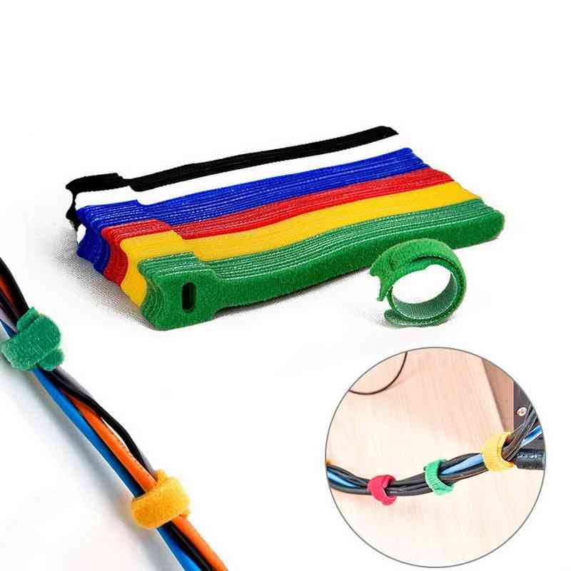 Reusable Fastening Cable Ties, Hook Loop Cords -wire Organizer Wraps