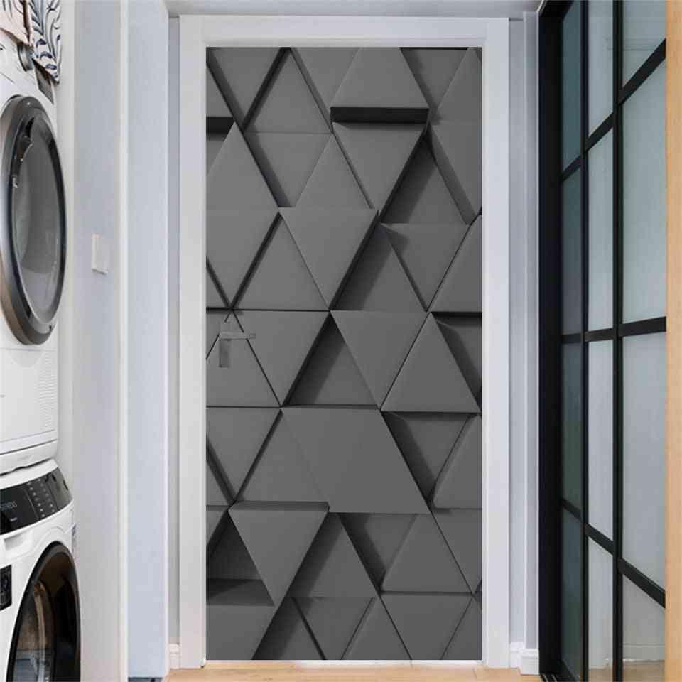 Geometry Door - Self Adhesive, Waterproof, Removable Wallpaper