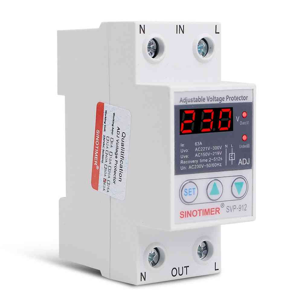 40a/63a/80a Adjustable Protection Over And Under Value Automatic High / Low Voltage Protect Relay