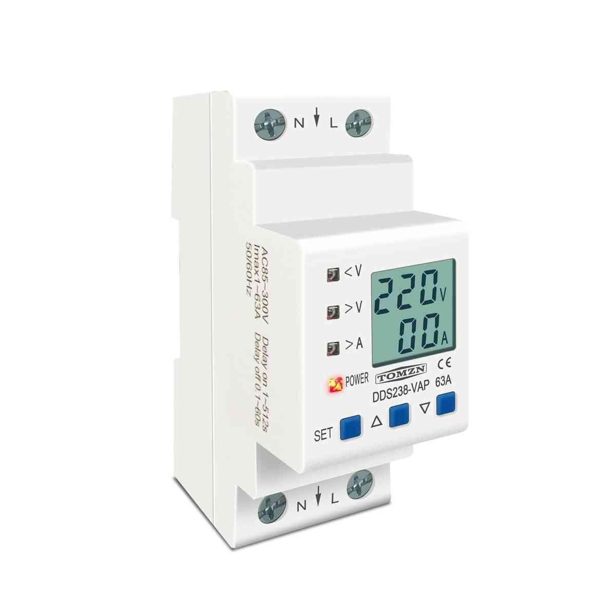 Din Rail Adjustable Over Under Voltage Protective Device - Current Limit Protection Voltmeter