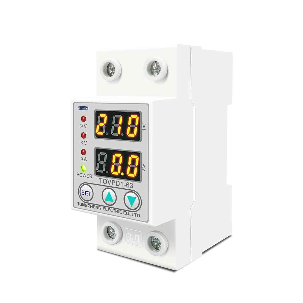 Adjustable Over & Under Voltage Protective Device Protector With Current Limiting Protection Voltmeter
