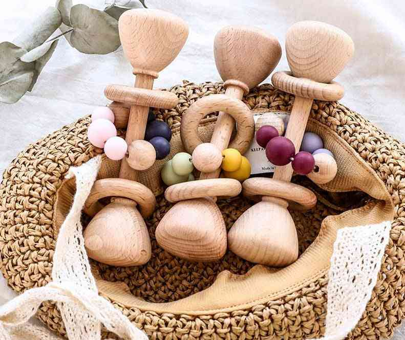 Beech Wooden, Rattle Wood Teething, Rodent Ring & Silicone Beads Fors