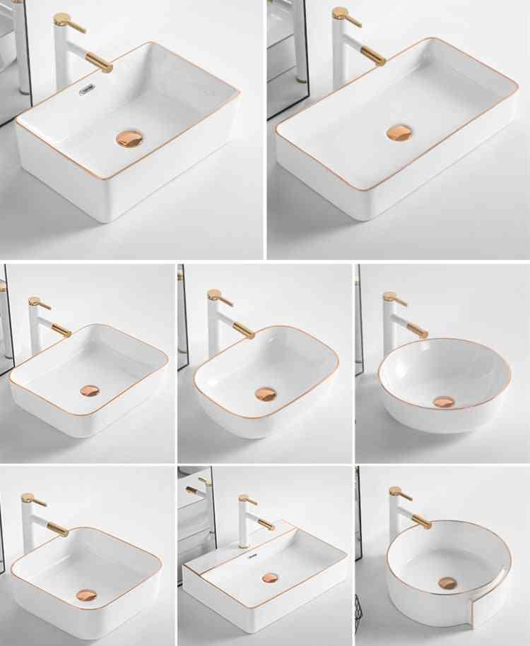 Art Golden Above Counter, Ceramic Wash Basin
