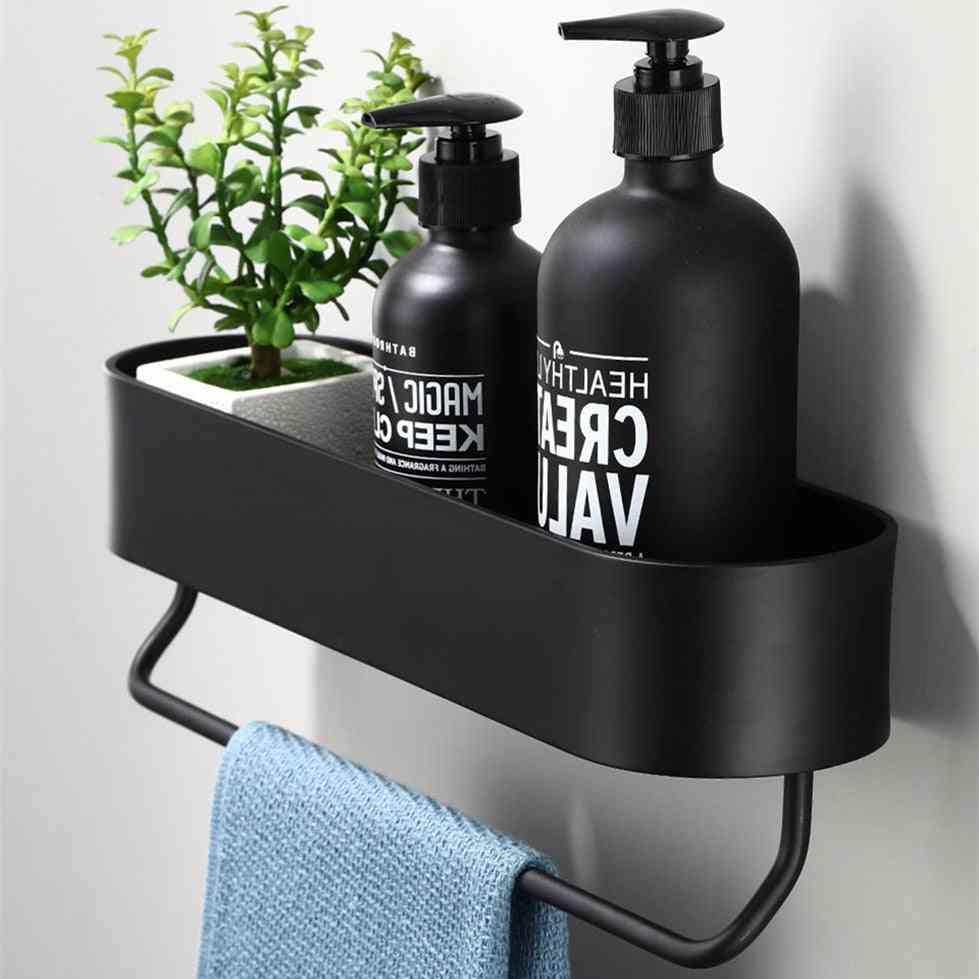 Black Bathroom Shelf  And Kitchen Wall Shelves Shower