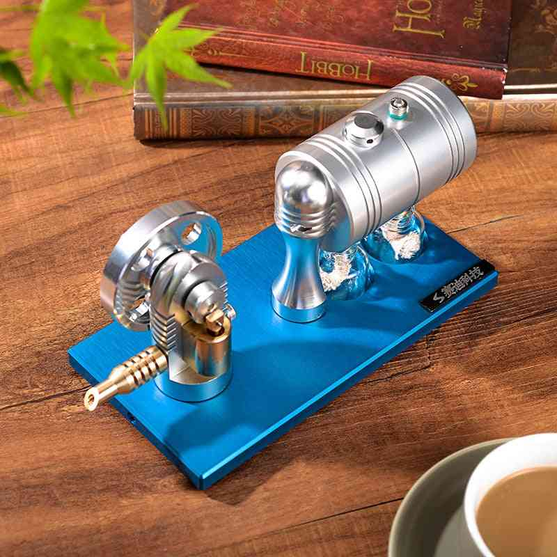Metal Startable Steam Engine Model- Retro With Heating Boiler Alcohol Lamp
