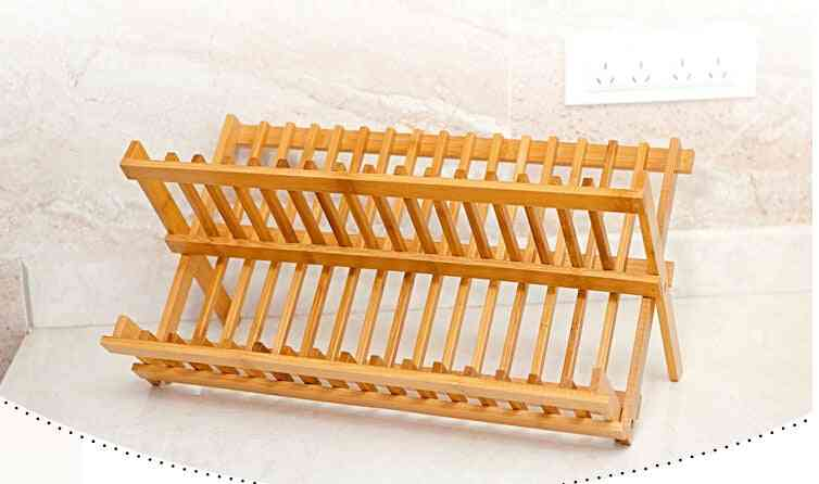 Folding Rack, Double Layers Dishes Drainer