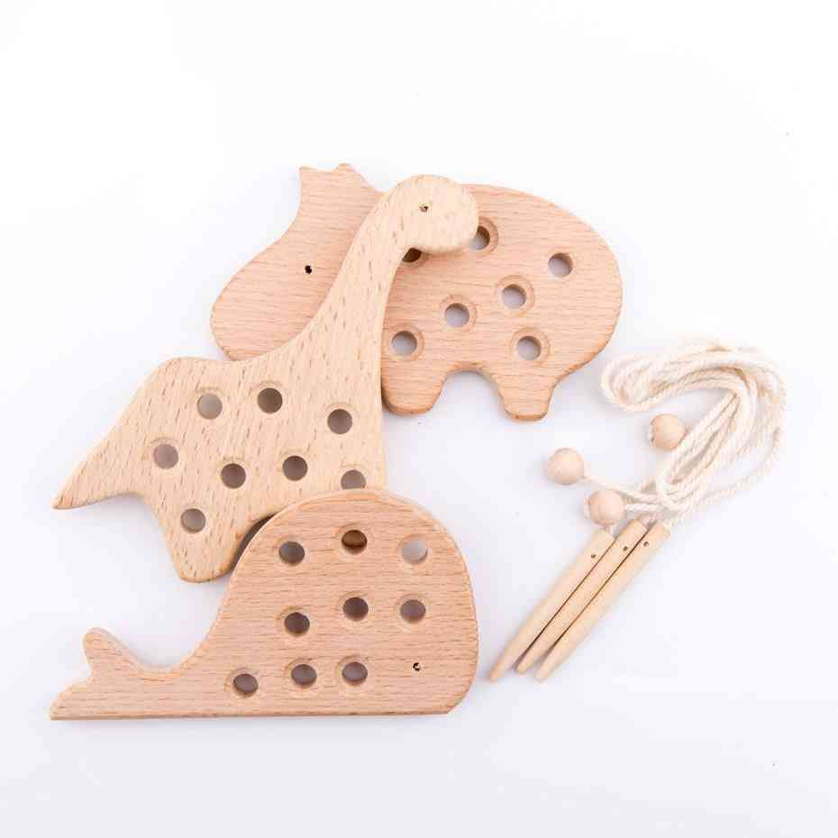 Wooden Teether - Lacing Animal For Toddler
