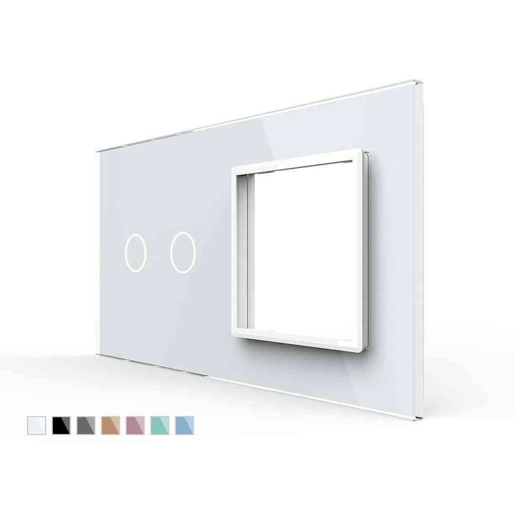 Eu Standard 2gang & 1 Frame Glass Panel For Switch And Socket