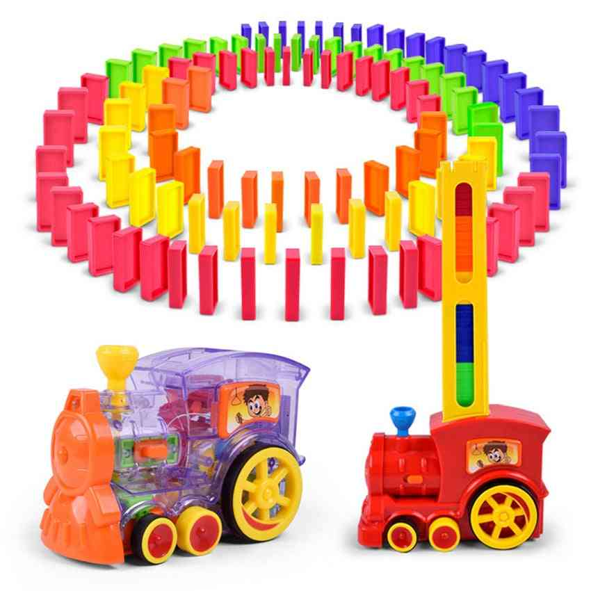 Automatic Laying Domino Brick Train Car Toy Set, With Sound And Light