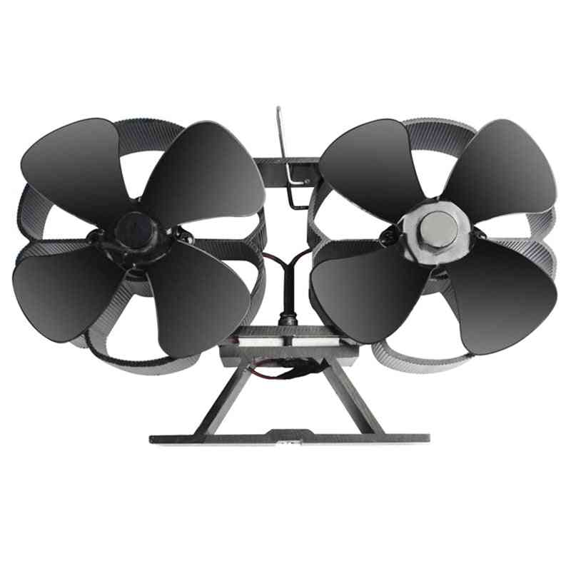Double Motors Wood Stove 8-blade Small Size Fan, Silent Heat Warm Powered Fire Eco Stove ,hot Dynamic Stove (black)