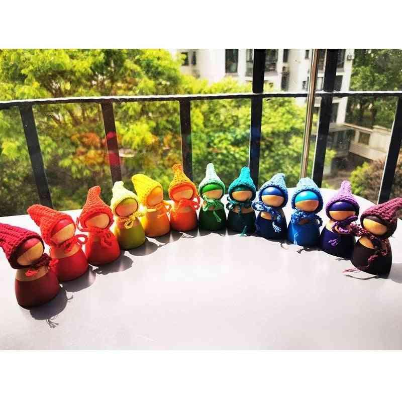 Wooden, Rainbow Dolls - Stackable Blocks, Montessori Toy