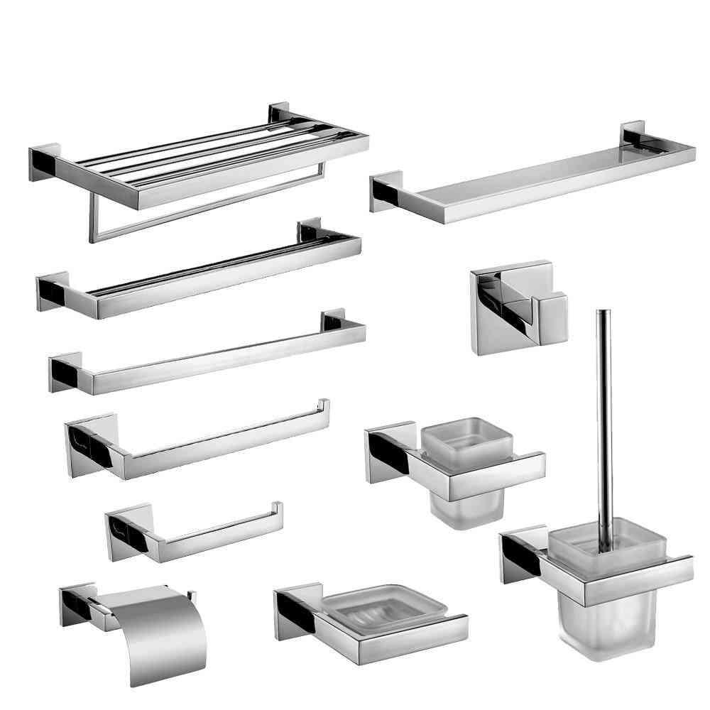 304 Stainless Steel Bathroom Hardware Set - Chrome Polished Toothbrush Holder Paper
