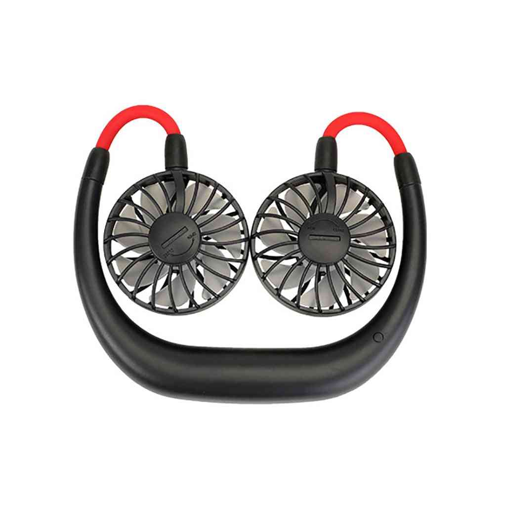 Mini Portable Usb 1200mah Rechargeable Neckband Lazy Neck Hanging Style - Dual Cooling Fans