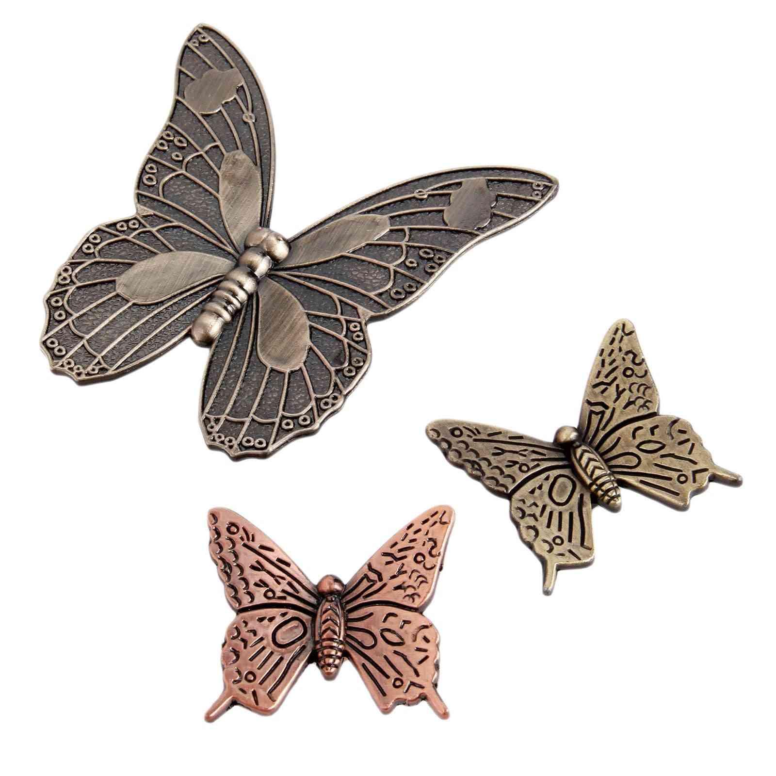 Butterfly Knob, Antique Bronze Brass, Furniture Handle Vintage