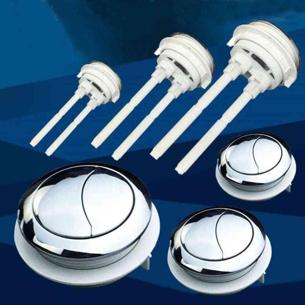 Toilet Dual Flush Round Head Push Button - Electroplating Water Tank Valve