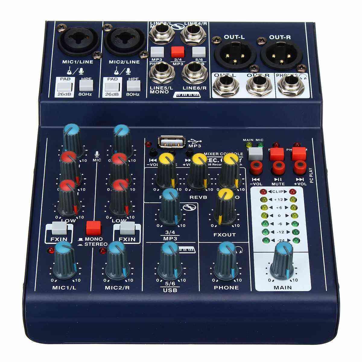 Mini 6 Channel Sound Dj Mixer, Reverberation Console Usb Record