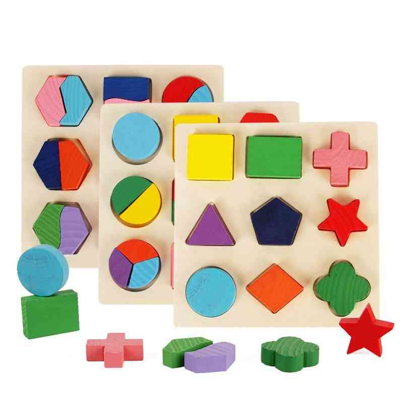 Wooden Geometric Shapes - Learning Educational, Sorting Math Puzzle Toy