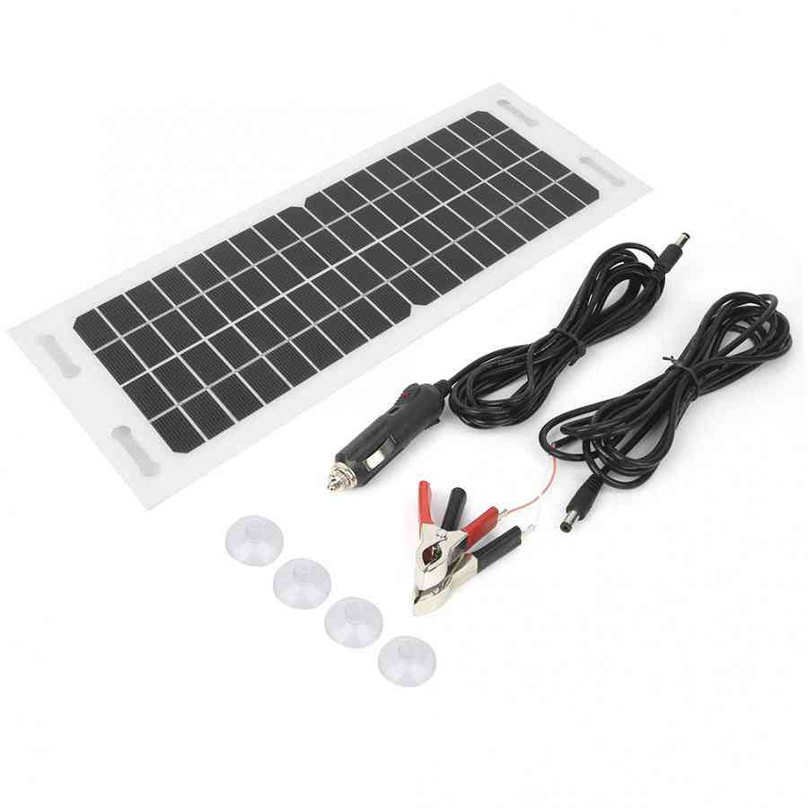 Car Solar Panel With 3 Meters Cigarette Lighter Charging Cable, Battery Clips And Suction Cup  Kit