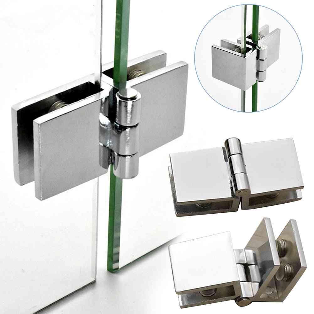 Door Hinge Glass Clamp - Durable Practical Furniture Bilateral Clip Zinc Cabinet