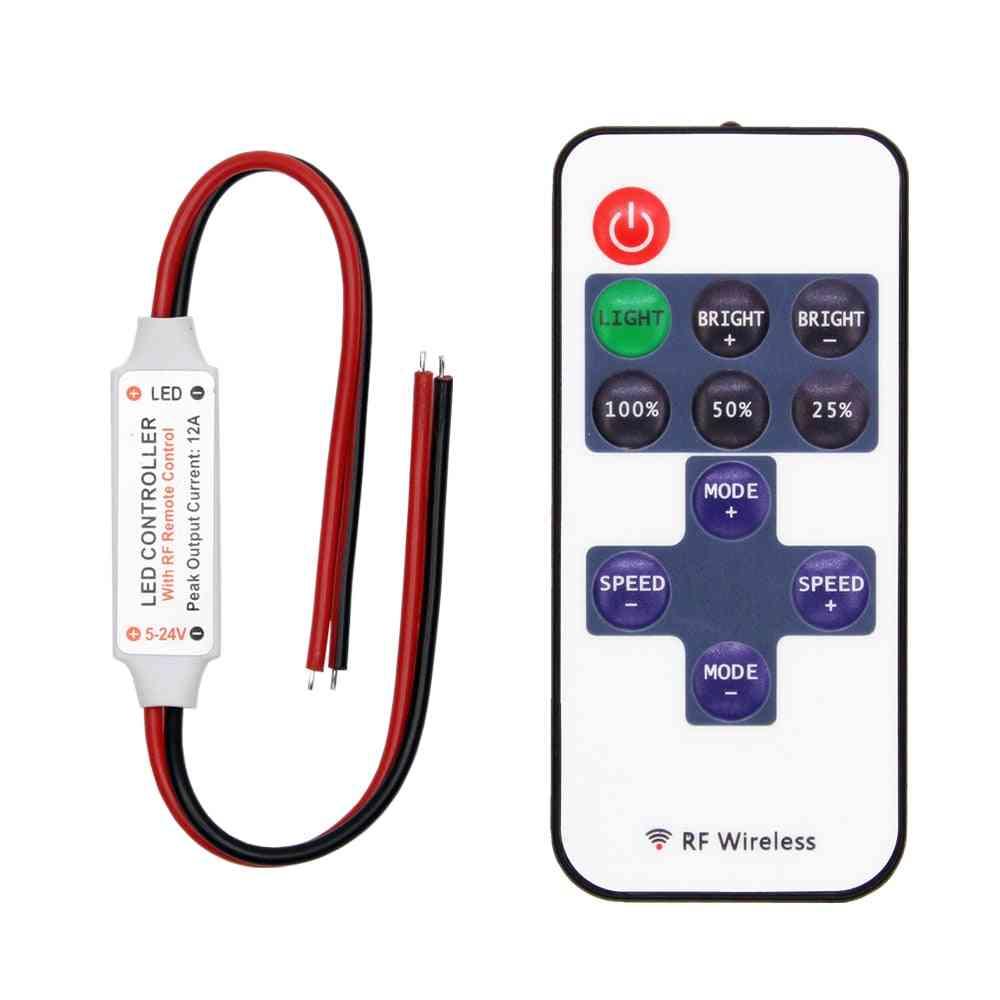 Mini Dimmer Rf Remote Dc 5v/12v/24v Controller For Led Strip
