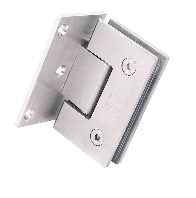 Stainless Steel Wall-mount, Glass-fixing Clip Shower, Nickel Brush, And Door Hinge