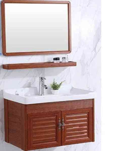 Mini Wall Mounted Basin & Cabinet Ceramic Washing Table Small Space Aluminum Cabinet With Mirror