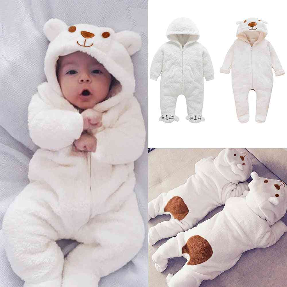 Cartoon Bear Flannel Footed Romper New Born Clothes