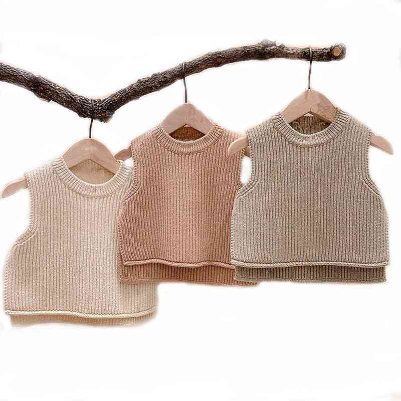 Autumn Solid, Sleeveless, Pullover Vest - Sweaters Outerwear For Baby Girl / Boy