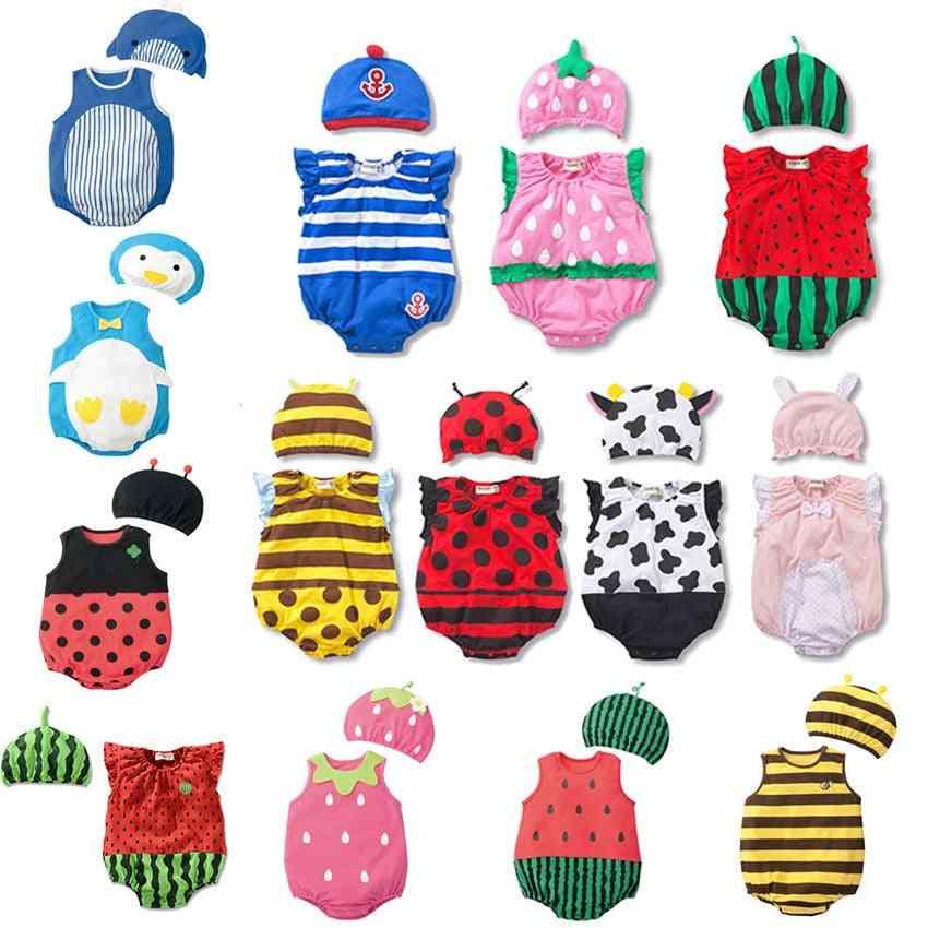 Sleveeless Rompers-summer Cotton Bodysuit Set For Newborn Infants