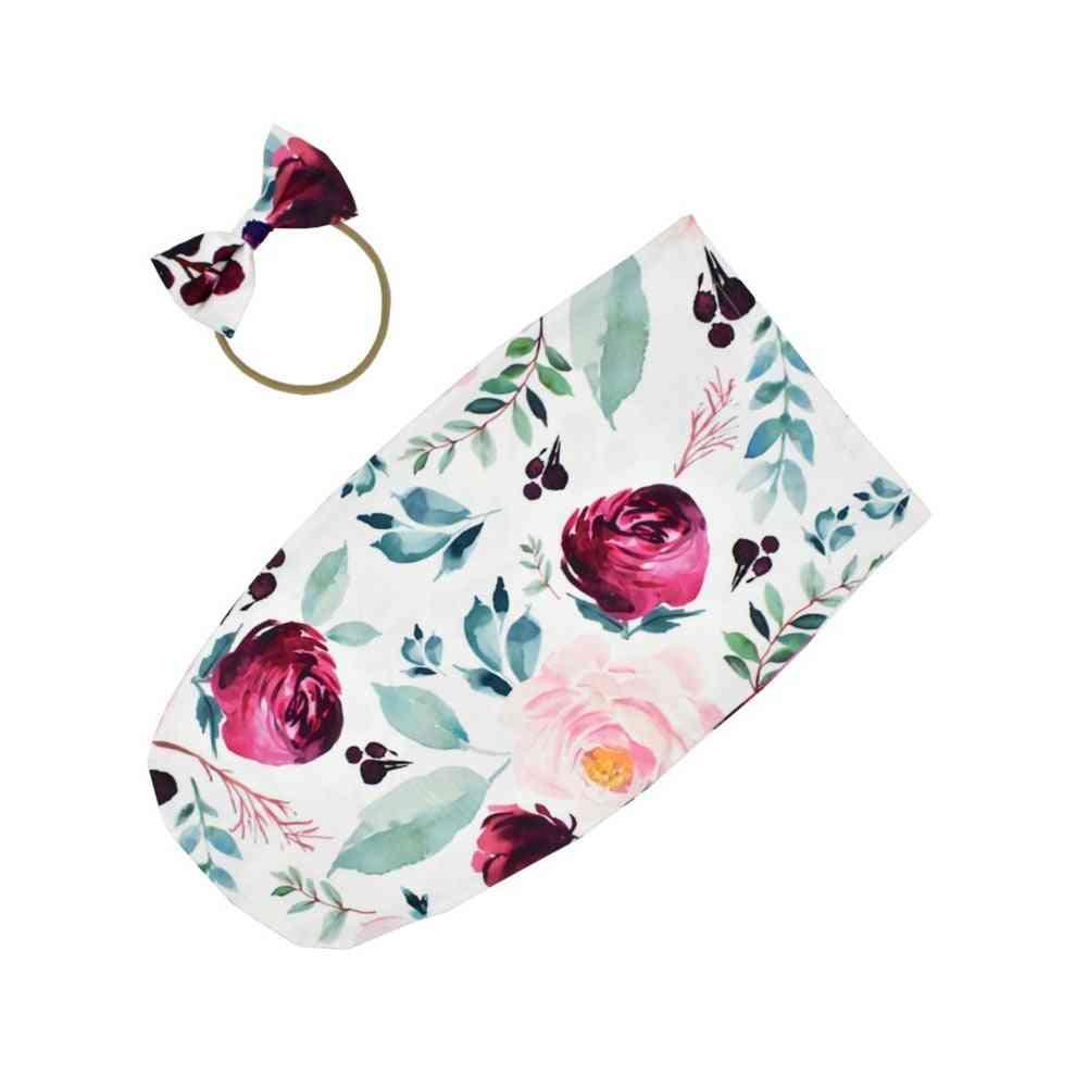 Infant Swaddle-sleeping Bag With Hair Band Set