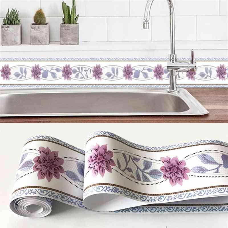 Self-adhesive, 3d Flowers/geometric Design-pvc Waterproof, Borderline Wallpaper