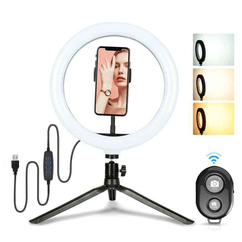 Selfie Led Fill Ring Light With Tripod Stand And Bluetooth Remote Shutter