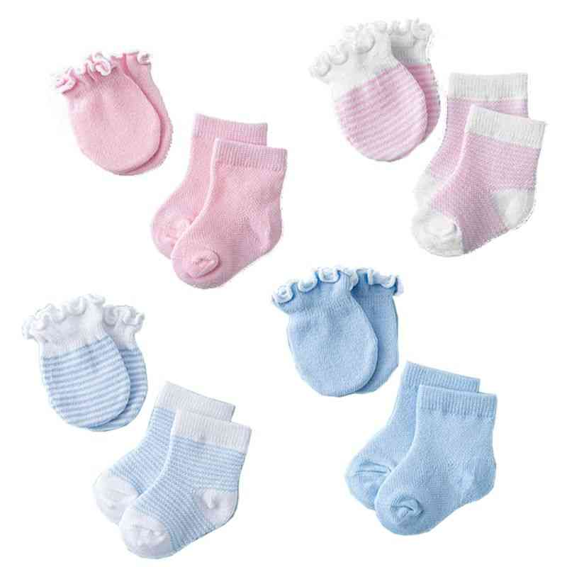4 Pairs Socks & Gloves, Anti-scratch Breathable - Face Mittens