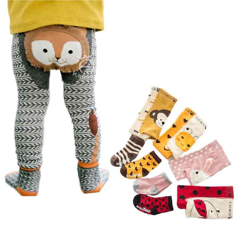 Animal Cartoon Printed-skinny Pants- Kids Leggings With Socks