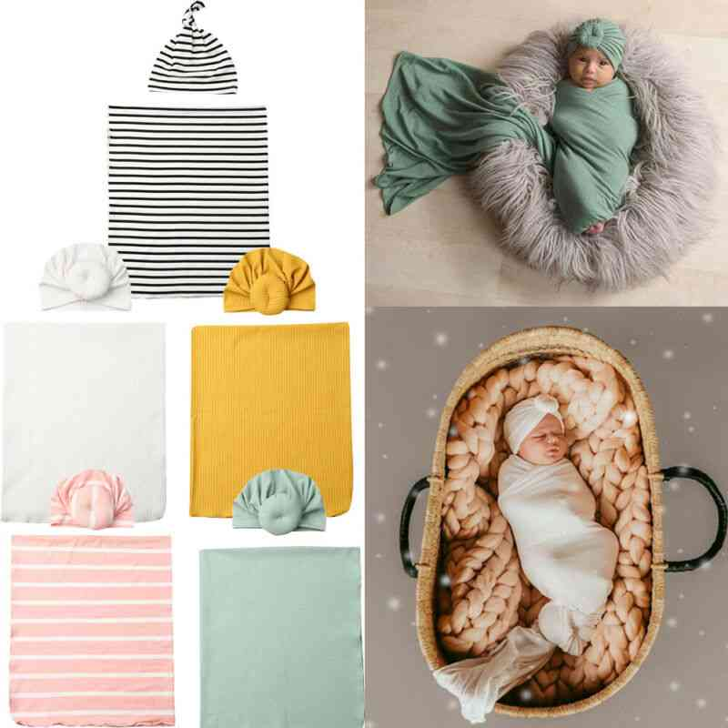 Newborn Baby Boy Blankets Cocoon Swaddle Sleeping Muslin Wrap Hat Set