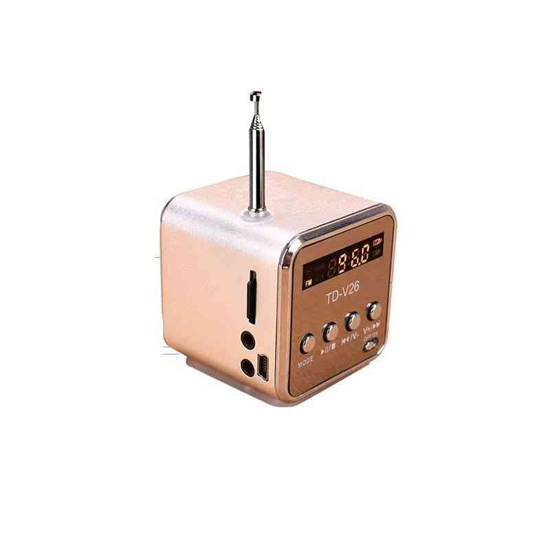 Portable Fm Radio With Micro Sd / Tf / Usb 8gb Card Receiver Mp3 Music Player - Built-in Line In Audio Interface Speaker Lcd Stere