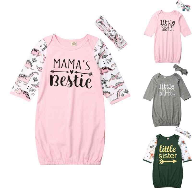 Newborn Infant Baby Girl Autumn Sleepwear Dress, Long Playsuit Sleeping Bag Headband Clothes Set