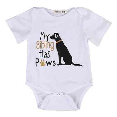 Cotton Toddler Short Sleeve, Cute Dog Romper Jumpsuit Clothes