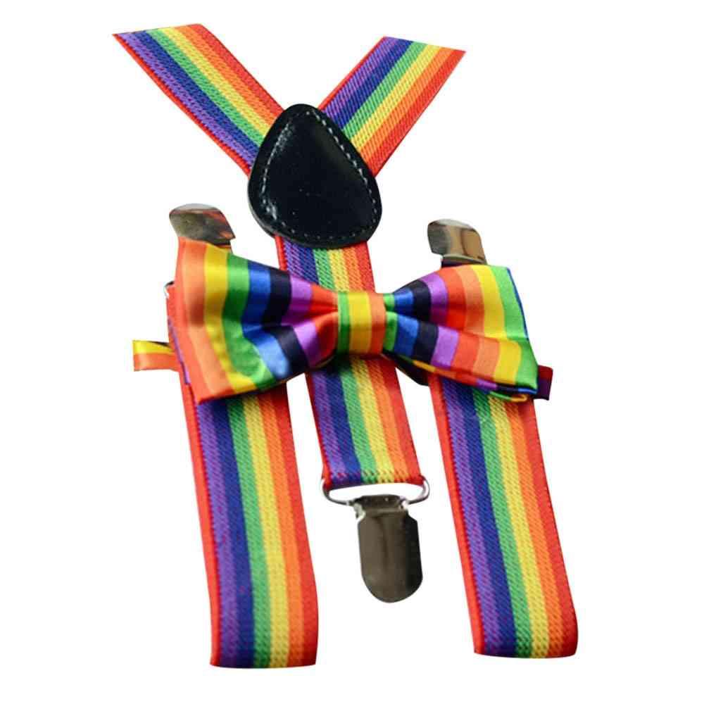 Rainbow Braces, Suspenders And Bow Tie Set