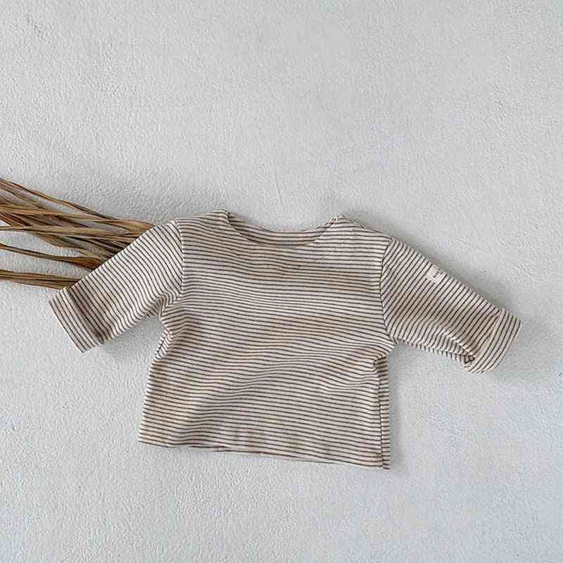 Spring/autumn Cotton Striped-o Neck Tees For Infants